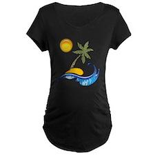 Island, Sand, Palm and Sea Maternity T-Shirt