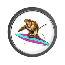 Surfing Turtle Wall Clock