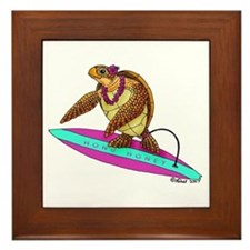 Surfing Turtle Framed Tile