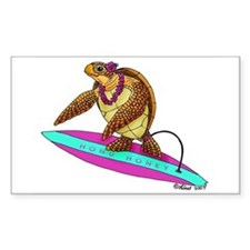 Surfing Turtle Rectangle Decal