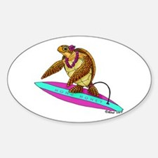 Surfing Turtle Oval Decal
