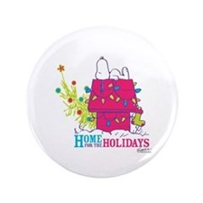 """Snoopy: Home for the Holidays 3.5"""" Button"""