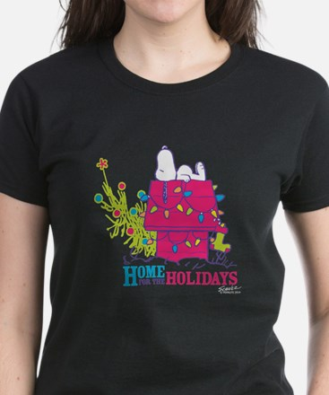 Snoopy: Home for the Holidays Women's Dark T-Shirt