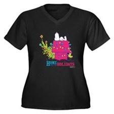 Snoopy: Home Women's Plus Size V-Neck Dark T-Shirt
