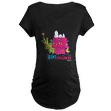 Snoopy: Home for the Holida Maternity Dark T-Shirt