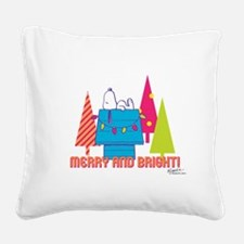 Snoopy: Merry and Bright Square Canvas Pillow