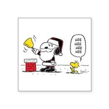 Santa Snoopy and Woodstock Square Sticker 3