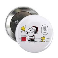 """Santa Snoopy and Woodstock 2.25"""" Button"""