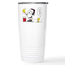 Santa Snoopy and Woodst Travel Mug
