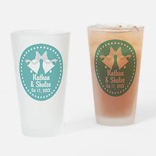 Aqua Wedding Bells personalized Drinking Glass