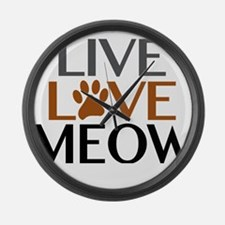 Live Love Meow Cat Lover Large Wall Clock