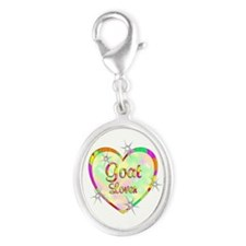 Goat Lover Silver Oval Charm