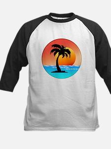 Palm Tree Island Silhouette at Sunset Baseball Jer