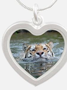 Unique Cat face Silver Heart Necklace