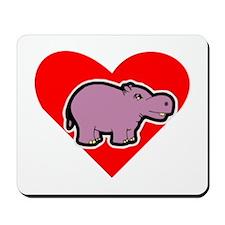Hippo Heart Mousepad
