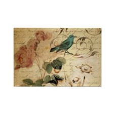 retro vintage rose teal bird botanical art Magnets