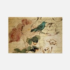 retro vintage rose teal bird botanical art Magnets
