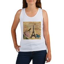 paris eiffel tower hydrangea bird floral fashion T