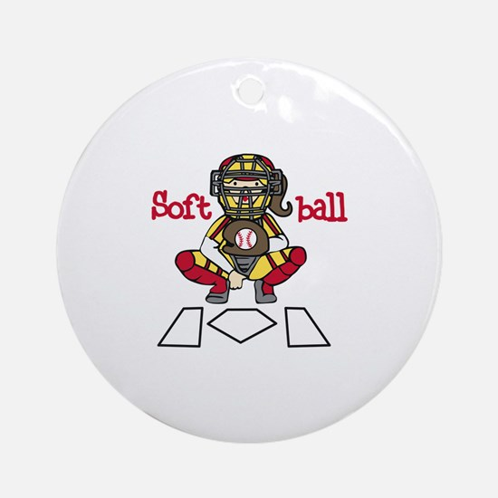 Catch Softball Ornament (Round)