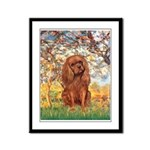 Spring and Ruby Cavalier Framed Panel Print