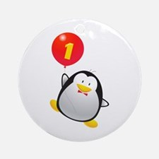 Penguin 1st Birthday Ornament (Round)