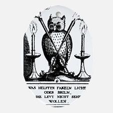 Alchemical Owl Diagram Oval Ornament