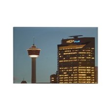 Evening Calgary Tower & Citywntow Rectangle Magnet