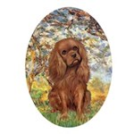 Spring and Ruby Cavalier Ornament (Oval)
