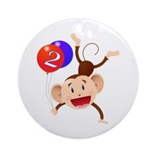 Monkey 2nd Birthday Ornament (Round)