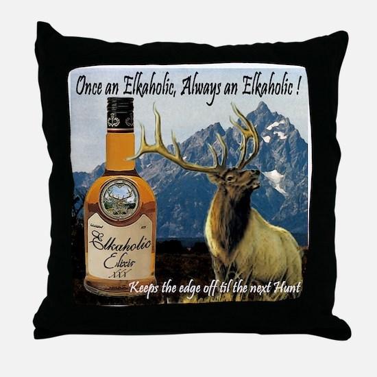 Once an Elkaholic Always an E Throw Pillow