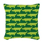 Crocodile Alligator Jungle Woven Throw Pillow