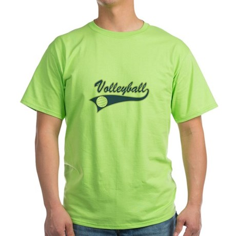 Blue Volleyball Graphic Lettering Green T-Shirt