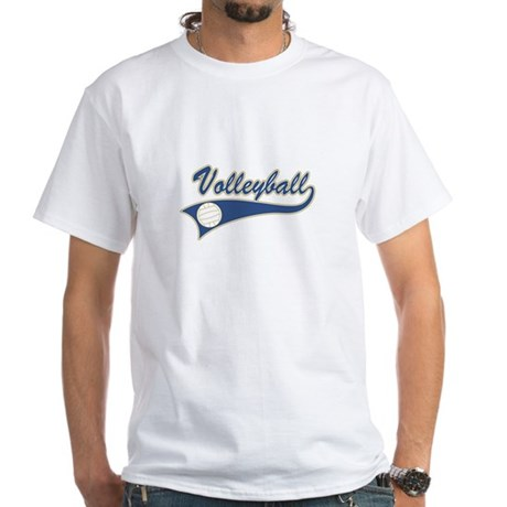 Blue Volleyball Graphic Lettering White T-Shirt
