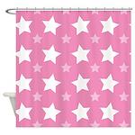 Pink Star Pattern Shower Curtain