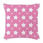 Pink Star Pattern Woven Throw Pillow