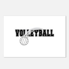 Black Veolleyball Swoosh Postcards (Package of 8)