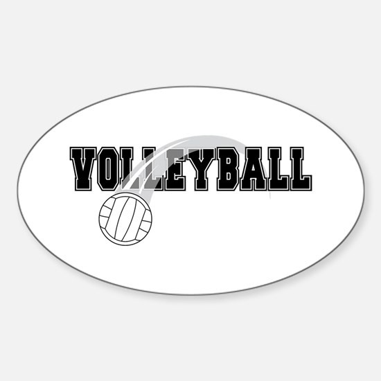 Black Veolleyball Swoosh Oval Decal