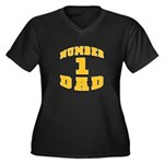 Number One Dad Women's Plus Size V-Neck Dark T-Shi