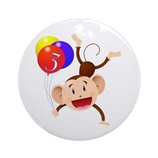 Monkey 3rd Birthday Ornament (Round)