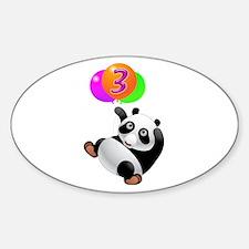 Panda Bear 3rd Birthday Sticker (Oval)
