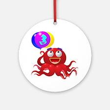 Octopus 3rd Birthday Ornament (Round)