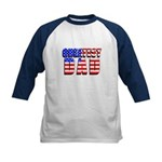 Patriotic Greatest Dad Kids Baseball Jersey