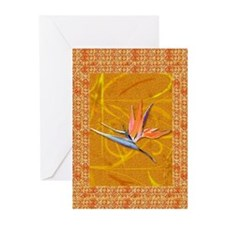 Gold Bird of Paradise Greeting Cards