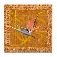Gold Bird of Paradise Tile Coaster