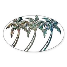Trio of Palm Trees in Paua Shell Textures Decal