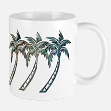 Trio of Palm Trees in Paua Shell Textures Mugs