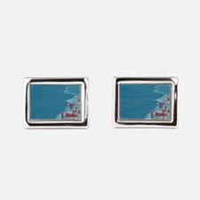 Container ship at sea. Rectangular Cufflinks