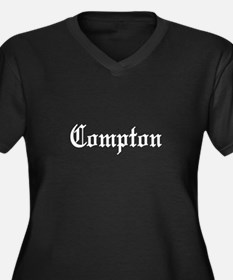 Compton Women's Plus Size V-Neck Dark T-Shirt