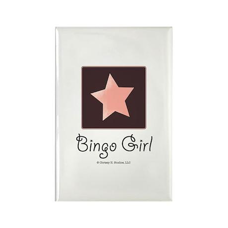 Bingo Girl Brown Center Square Pink Star Magnet
