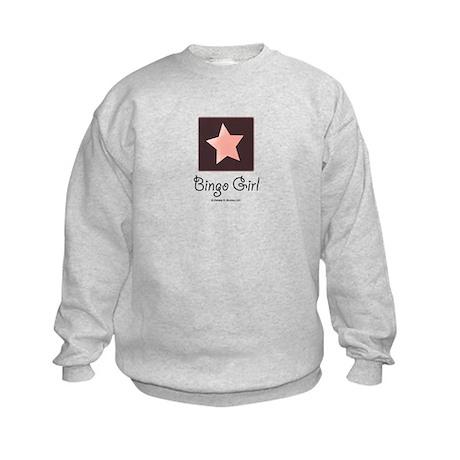 Bingo Girl Center Square Pink Star Kids Sweatshirt
